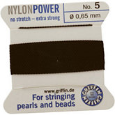 #5 Black Nylon (Polyamid) Carded Bead Cord (.65mm)