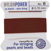 #6 Brown Nylon (Polyamid) Carded Bead Cord (.70mm)