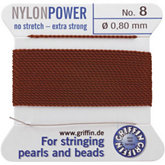 #8 Brown Nylon (Polyamid) Carded Bead Cord (.80mm)