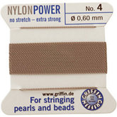 #4 Gray Nylon (Polyamid) Carded Bead Cord (.60mm)