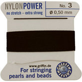 #3 Black Nylon (Polyamid) Carded Bead Cord (.50mm)