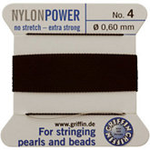 #4 Black Nylon (Polyamid) Carded Bead Cord (.60mm)