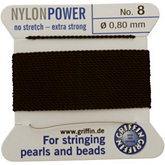 #8 Black Nylon (Polyamid) Carded Bead Cord (.80mm)