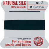 #2 Black Silk Bead Cord (.45mm)