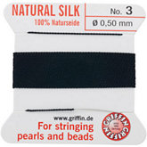 #3 Black Silk Bead Cord (.50mm)