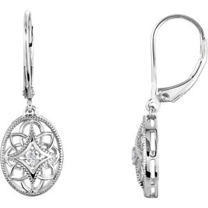 Sterling Silver . 6 ATW Diamond Lever Back Earrings