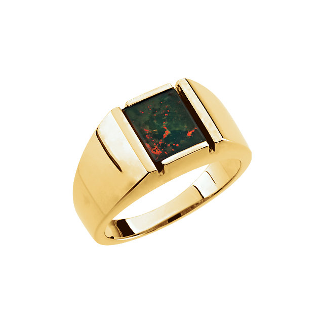 14K Yellow Bloodstone Men-s Ring