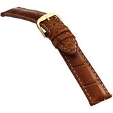 18mm Men's Long Genuine Louisiana Alligator Matte Honey Watch Strap