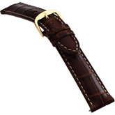 18mm Men's Long Genuine Louisiana Alligator Matte Cognac Watch Strap