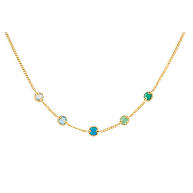 18K Vermeil Aquamarine, Blue Topaz, Turquoise, Chrysoprase & Green Onyx 16