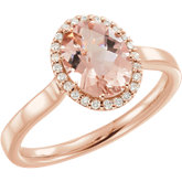 Morganite & Diamond Halo-Style Ring