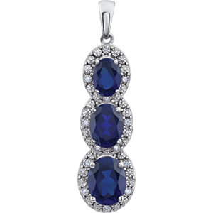 Gemstone & Diamond 3-Stone Pendant