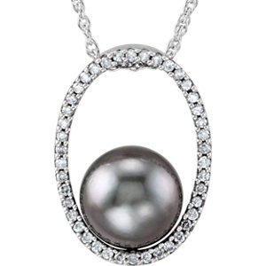 "14K White Tahitian Cultured Pearl and 1/3 CTW Diamond 18"" Necklace"