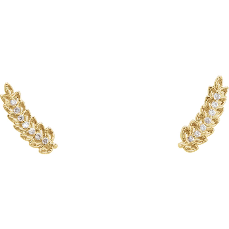 14kt Yellow .04 CTW Diamond Leaf Ear Climbers
