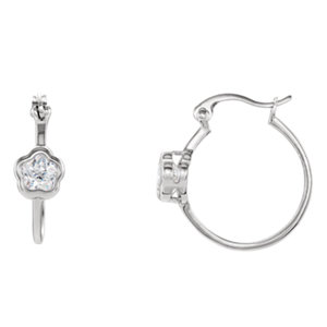 """Sterling Silver BFlowerâ""""¢ CZ Dangle Earrings"""