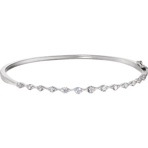 14K White 1 CTW Diamond Bangle Bracelet