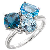 Blue Topaz & Diamond Cluster Ring or Mounting