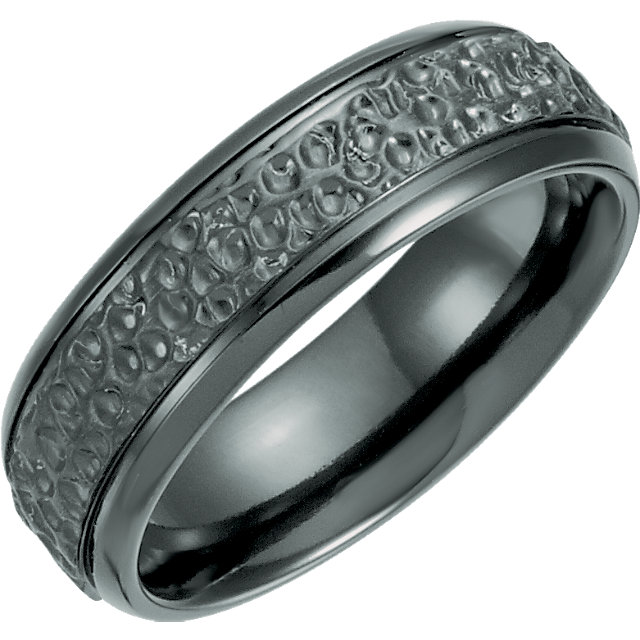 Black Titanium 7.5mm Grooved Hammered Band
