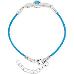 "Sterling Silver BFlower™ Blue CZ 6.5-7.5"" Nylon Bracelet"