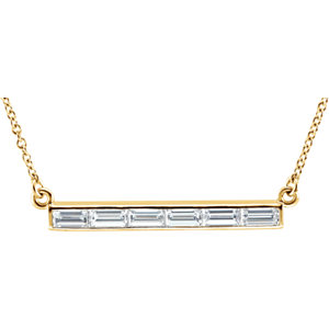 "14K Yellow 3/4 CTW Diamond Bar 17"" Necklace"