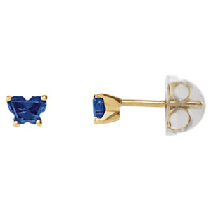 10K Yellow September Bfly® CZ Birthstone Youth Earrings with Safety Backs & Box