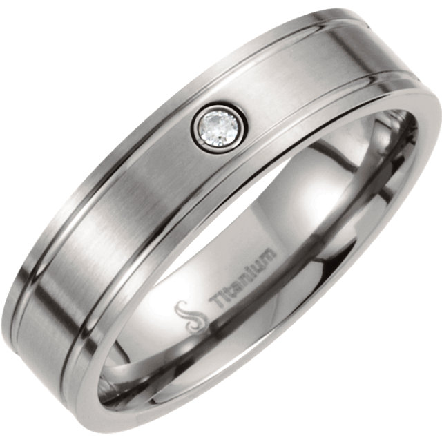 Titanium .03 CT Diamond Duo Satin & Polished Grooved Band Size 7