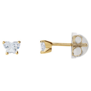 14kt Yellow April Bfly®<br> AZ Birthstone Youth<br> Earrings with Safety<br> Backs & Box