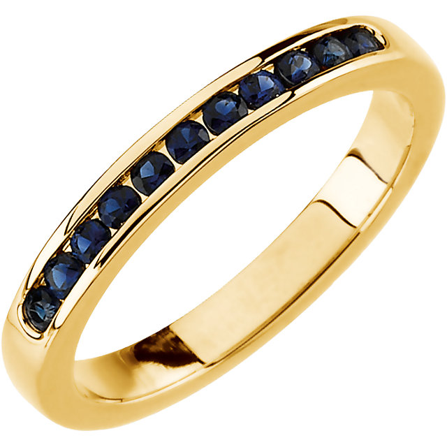 Yellow Gold and Channel Set Sapphire Anniversary Band