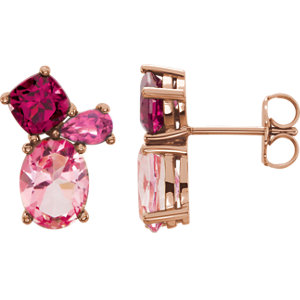 14kt Rose Baby Pink<br> Topaz,Rhodolite Garnet &<br> Pink Tourmaline Earrings