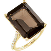 Smoky Quartz & Diamond Accented Ring or Mounting