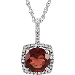Gemstone & Diamond Halo-Styled Necklace or Semi-Mount