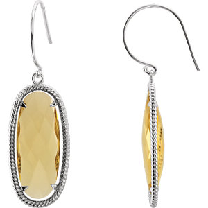 14kt Yellow  5x1 mm Oval<br> Smoky Quartz Dangle<br> Earrings