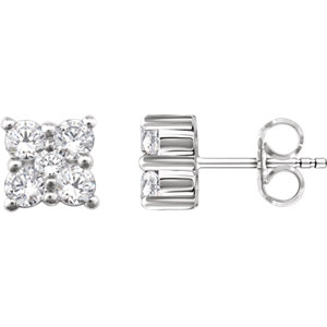 14K White 1/2 CTW Diamond Cluster Earrings