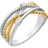 Diamond Criss-Cross Rope Design Ring