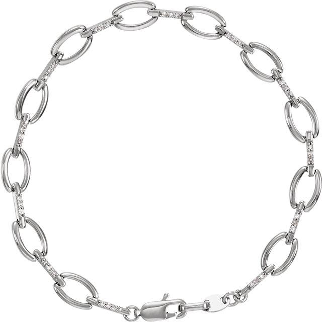 14K White 1/5 CTW Diamond Link 7.5