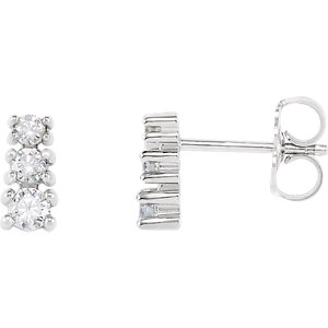 14kt White 1/4 ATW Diamond A Stone Earrings