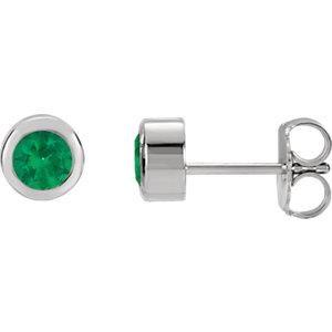 Sterling Silver Imitation Emerald Earrings