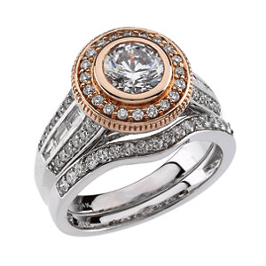 14kt White & Rose 1 A/4<br> ATW Diamond Engagement<br> Ring