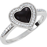 Cubic Zirconia & Enamel Heart Ring