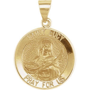 14kt Yellow 18.25mm Round Hollow St. Lucy Medal