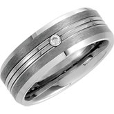8.3mm Dura Tungsten® .05 ct Diamond Bezel Grooved Satin Band