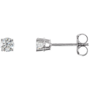 Sterling Silver A.5mm Round Aubic Zirconia Earrings