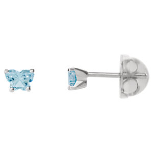 1 kt White March Bfly®<br> AZ Birthstone Youth<br> Earrings with Safety<br> Backs & Box