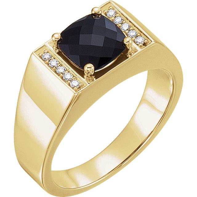 14K Yellow Men-s Onyx & 1/10 CTW Diamond Ring