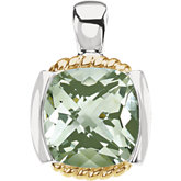 Genuine Checkerboard Green Quartz Pendant