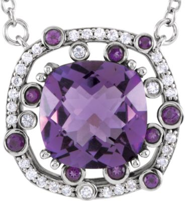 "14kt White Amethyst & 1/6 CTW Diamond 18"" Necklace"