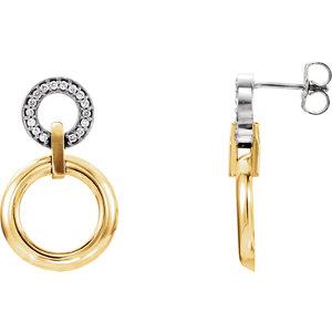 14K Yellow & White 1/6 CTW Diamond Earrings