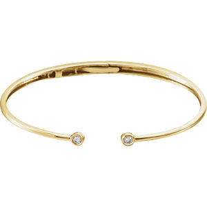14K Yellow 1/6 CTW Diamond Hinged Cuff Bracelet