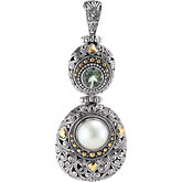 Two-Tone Filigree Design Fashion Pendant