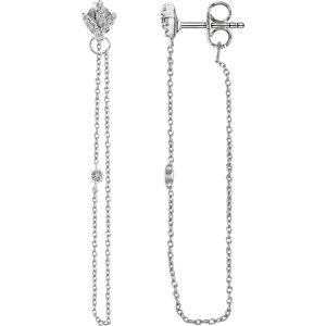 14K White .08 CTW Diamond Chain Earrings